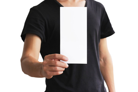 offset views: Man showing blank white flyer brochure booklet. Leaflet presentation. Pamphlet hold hands. Man show clear offset paper. Sheet template. Booklet design sheet display read first person