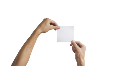 Two hand holding square paper in the hand. Leaflet presentation. Pamphlet hand man. Man show offset paper. Sheet template. Book in hands. Booklet folding design. Fold paper sheet display read.