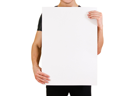 note booklet: Man showing blank white big A2 paper. Leaflet presentation. Pamphlet hold hands. Man show clear offset paper. Sheet template. Booklet design sheet display read first person Stock Photo