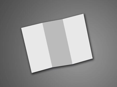 Blank Trifold White Template Paper Isolated On Grey Background