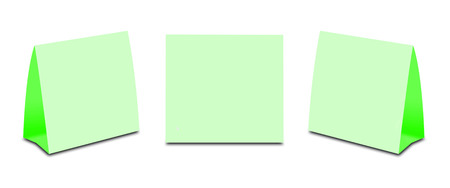 placecard: Blank Green Table Tent on white. Paper vertical cards isolated on white background. Front, left and right view. Stock Photo