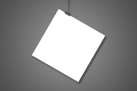 hang up: Blank white page hanging on the two clothespins with a string. Isolated on a gray background. Stock Photo