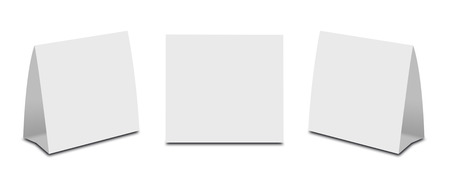 placecard: Blank White Table Tent on white. Paper vertical cards isolated on white background. Front, left and right view. Stock Photo