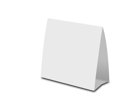 placecard: Blank White Table Tent on white. Paper vertical cards isolated on white background.