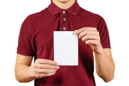 Man showing blank white flyer brochure booklet. Leaflet presentation. Pamphlet hold hands. Man show clear offset paper. Sheet template. Booklet design sheet display read first person.