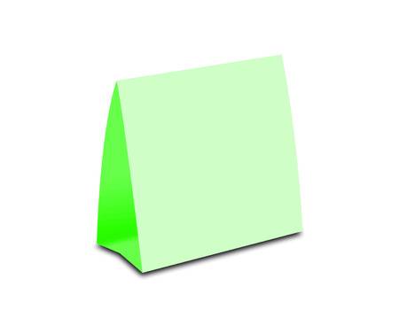 placecard: Blank Green Table Tent on white. Paper vertical cards isolated on white background.