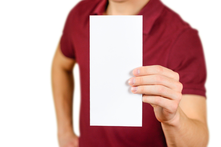 Man showing blank white flyer brochure booklet. Leaflet presentation. Pamphlet hold hands. Man show clear offset paper. Sheet template. Booklet design sheet display read first person.