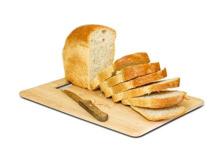Knife sliced Golden bread. Isolated on white background.