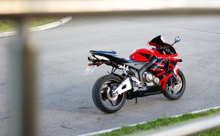 KRASNOYARSK, RUSSIA - MAY 27, 2017: Red and black sportbike Honda CBR 600 RR 2005 PC37.