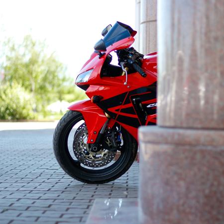 KRASNOYARSK, RUSSIA - MAY 27, 2017: Red and black sportbike Honda CBR 600 RR 2005 PC37.