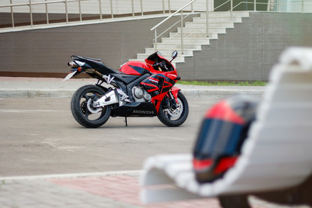 KRASNOYARSK, RUSSIA - JULY 05, 2017: Red and black sportbike Honda CBR 600 RR 2005 PC37.