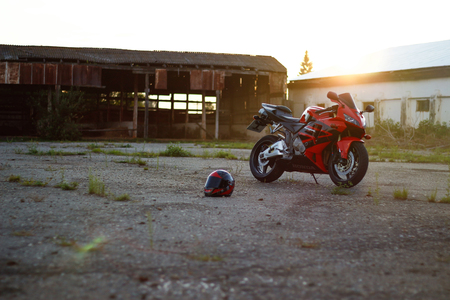 KRASNOYARSK, RUSSIA - JULY 12, 2017: Red and black sportbike Honda CBR 600 RR 2005 PC37.