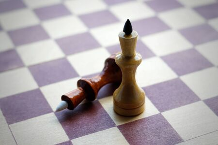 Two Queens on a chess Board. Chess. Black and white. Closeup.