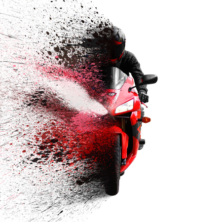 The rider on the red sport motorcycle helmet with a black visor. Shatters into spray. Isolated on white background. Archivio Fotografico