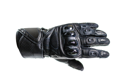 スポーツ黒モト手袋。白い背景上に分離。 写真素材