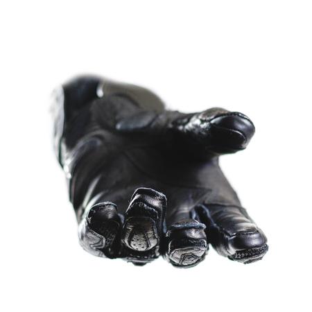 Sport zwarte Moto-handschoenen. Geïsoleerd op witte achtergrond