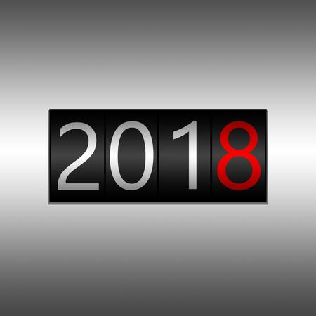 2018. Nieuwjaar zwarte kilometerteller op grijze achtergrond - Nieuwjaar 2018 ontwerp, kilometerteller stijl met witte en rode cijfers.