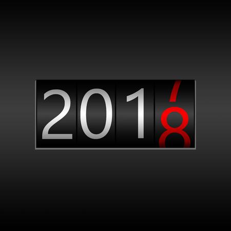 2018. Nieuwjaar zwarte kilometerteller op zwarte achtergrond - Nieuwjaar 2018 ontwerp, kilometerteller stijl met witte en rode cijfers.