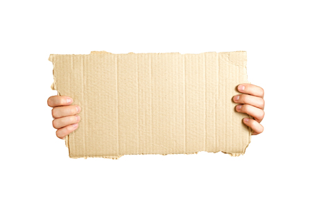 Hands holding a piece of cardboard. Isolated on a white background. Prepared for your text.
