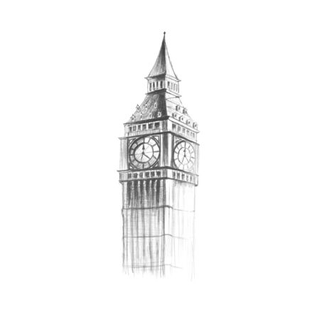 Big Ben painted with a pencil.  Hand-drawn. Close up. Isolated on white background. Stock Photo