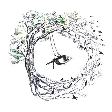 Fille balançant sur une balançoire swing attaché à des arbres. sauver un gros plan de papier. isolé sur fond blanc. isolé. Banque d'images - 99425809