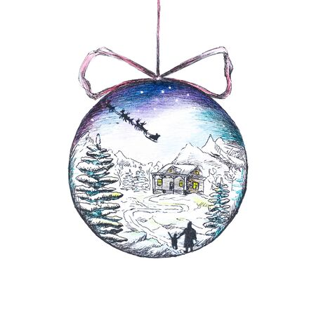 Christmas ball. The ball reflects the snow-covered house and trees. Hand-drawn. A watercolor drawing. Close up. Isolated on white background.