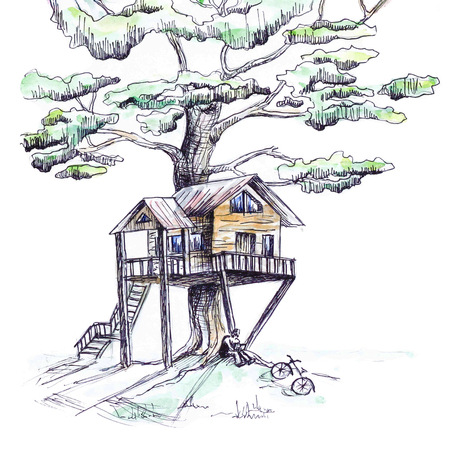 The house is built on a tree, painted by hand. Painted with black pen and watercolor. Isolated on white background Banque d'images - 111337326