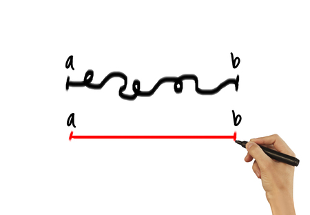 Draws a line from A to B - male hand writing text on white background. Stock Photo