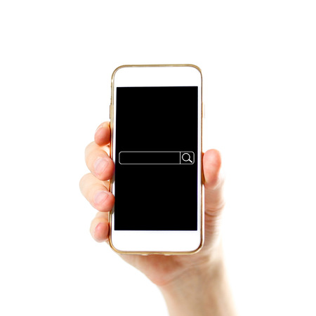Search bar on the phone screen. Hand holding white phone with blank black screen. Close up. Isolated on white background.