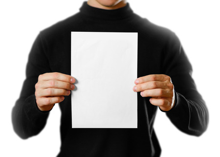 Man showing blank white flyer brochure booklet. Leaflet presentation. Pamphlet hold hands. Man show clear offset paper 版權商用圖片