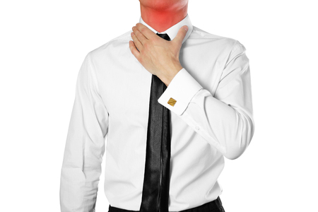 Businessman in a white shirt and tie holding his throat. Sore throat. Angina. Isolated on white background.