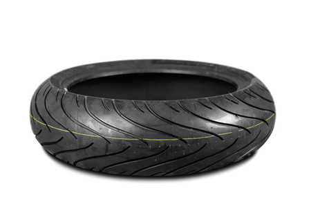 Moto tire for powerful sports motorcycle. Isolated background.
