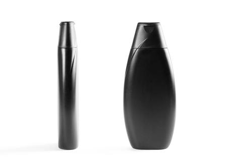 Black shampoo bottle. Close up. Isolated on white background.