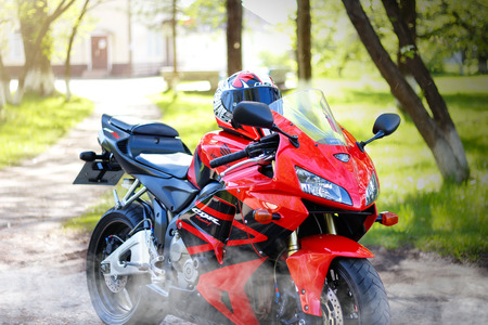 KRASNOYARSK, RUSSIA - MAY 27, 2018: Red and black sportbike Honda CBR 600 RR 2005 PC37 Stock fotó