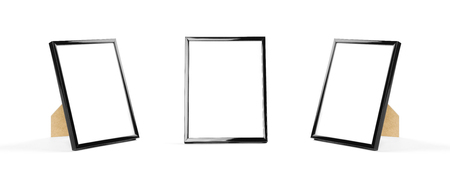 Black photo frame. Close up. Isolated on white background. Фото со стока