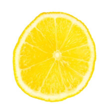Cut lemon. Close up. Isolated on white background.