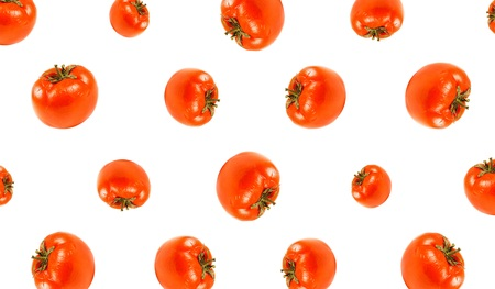 Pattern of sickly red tomato. Close up. Isolated on white background.