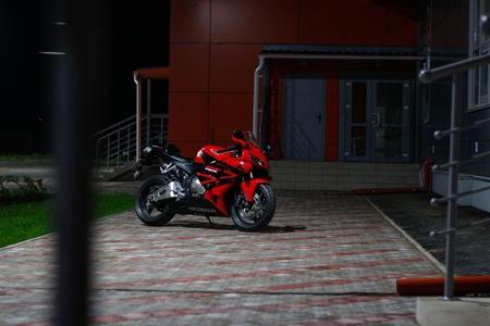 KRASNOYARSK, RUSSIA - MAY 25, 2018: Red and black sportbike Honda CBR 600 RR 2005 PC37.