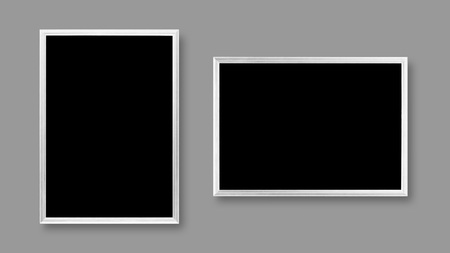 White blank A4 frame. Close up. Isolated on grey background.