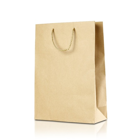 Paper bag. Close up. Isolated on white background. 写真素材
