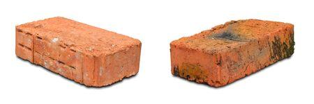 Red bricks on white background. Close up. 写真素材