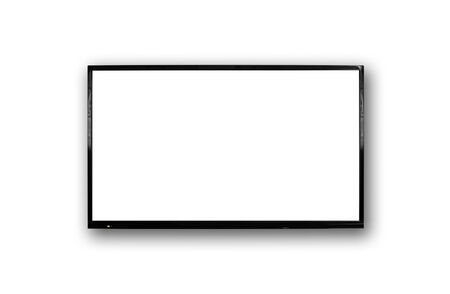 LCD TV with thin black frame hanging on white wall. Blank white screen. Isolated on white background. Stok Fotoğraf