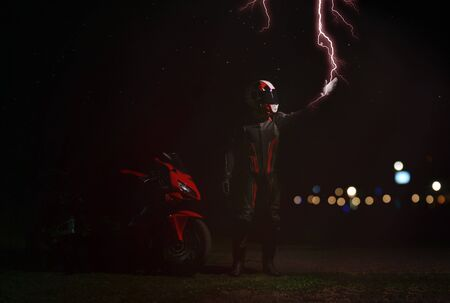 The rider in the gear and the helmet touches the flash of lightning.