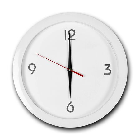 Large round white wall clock with white frame. The hands point to 6 o'clock. Close up. Isolated on white background.
