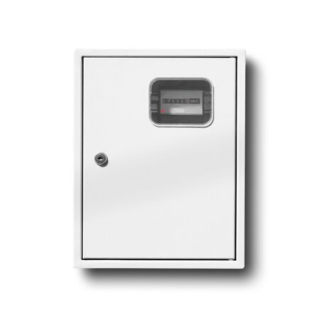 The metering device of electric power. Counter in a metal case. Close up. Isolated on white background.