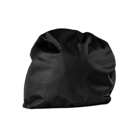 Motorcycle helmet in black textile cover. Close up. Isolated on white background.