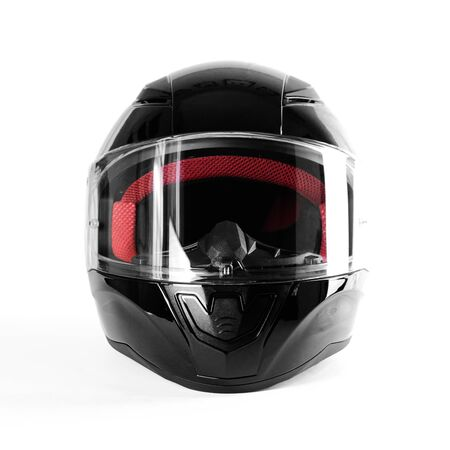 Black glossy motorcycle helmet. Close up. Isolated on white background.