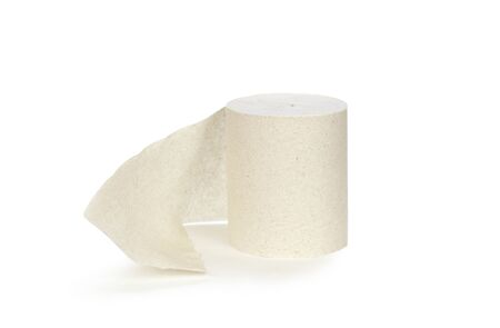 A roll of toilet paper. Close up. Isolated on white background. Stock fotó