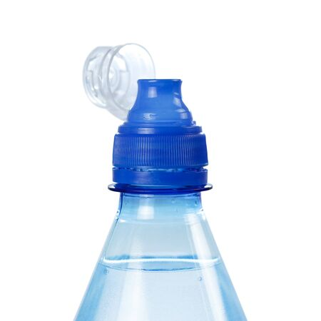 Blue bottle with sport-lock lid. Close up. Isolated on white background. Stock fotó