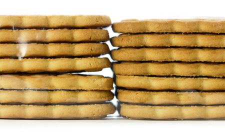 Two stacks of cookies. Close up. Isolated on white background. Stock fotó - 134287753